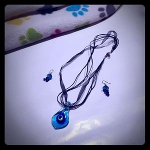 Beautiful blue glass necklace and earrings